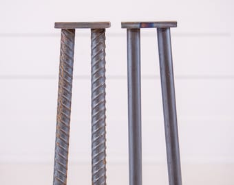 """22"""" Industrial Metal Table Legs- Set of 4- Textured Rebar- Unfinished Bare Steel"""