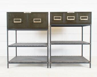 Pair of Vintage Industrial Metal Drawer Nightstands