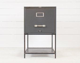 Vintage Industrial Grey File Drawer End Table