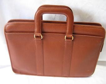Vintage Brown Genuine Leather Business Briefcase Attache