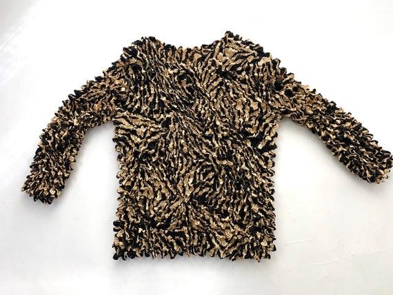 Animal Print Micro Pleat Popcorn Crinkle Shirt Top