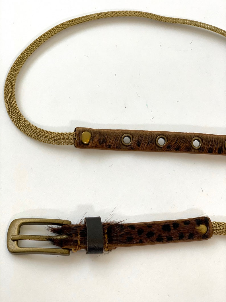 Gold Brass Chain Skinny Belt Animal Print Hide Fur