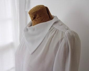 White Sheer Chiffon Blouse - Cowl Neck Button Shoulder - Sz S