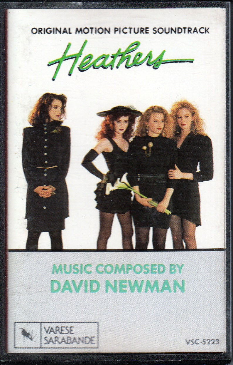 Rare Original '89 HEATHERS Varese Sarbanne U S  Soundtrack Compilation  CASSETTE Electronic Synth-Pop Classics! Winona Ryder Christian Slater