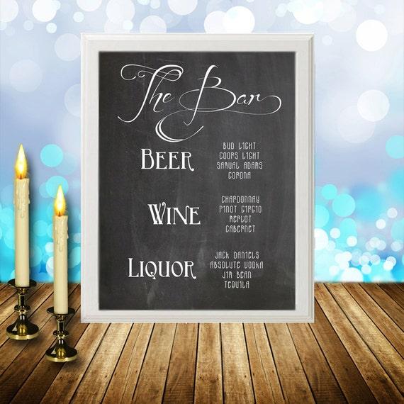 Chalkboard Customizable Bar Menu,  The Bar Printable Pdf, Bar Sign, Wedding Reception, Cocktail Sign, Bar list, beer liquor wine 8X10 5X7