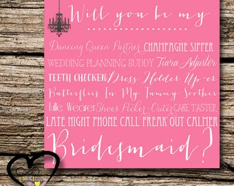 Bridesmaid Proposal Card, Ask Bridesmaid, Be my Bridesmaid in my Wedding