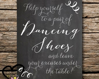 Chalkboard Wedding Decor, Dancing Shoes Sign Tired Feet Help Yourself, Wedding Printable, Personalized Wedding