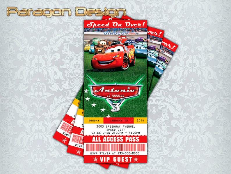 Cars Custom Birthday Invitation Lightning McQueen