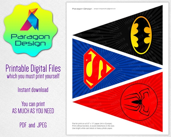 photo about Printable Superhero Logos named Superhero Trademarks - Fastened of 3 Triangle Banner, pennant garland bunting - superman spider gentleman batman - Fast Obtain Printable Electronic Documents