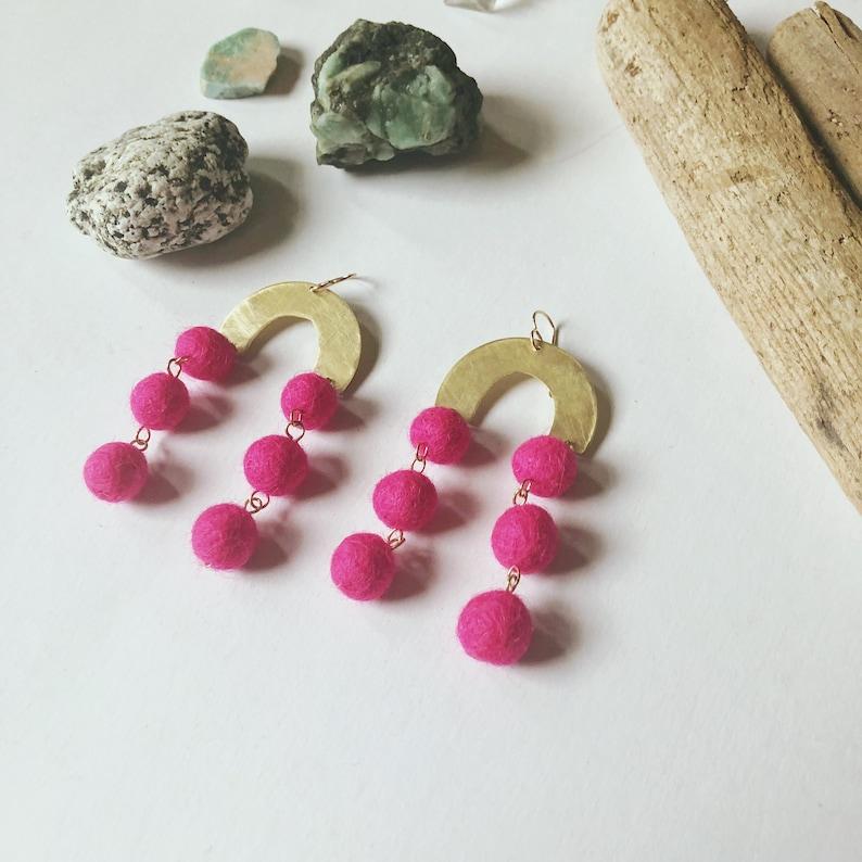 Brass Rainbow Hot Pink Drop Ball Earrings Long Wedding Earrings