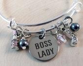 Bracelet quot Boss Lady quot . Charm Bracelet, Lipstick,High Heel, Pearls,Crystals,Expandable Bracelet, Bangle Bracelet