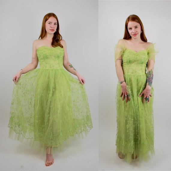 Vintage 1940s 1950s Lime Green Party Tea Dress wit