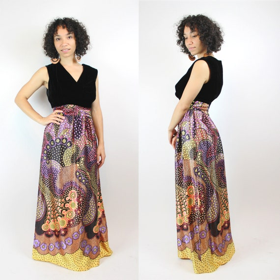 Vintage 1960s Psychedelic Print Satin Skirt Party