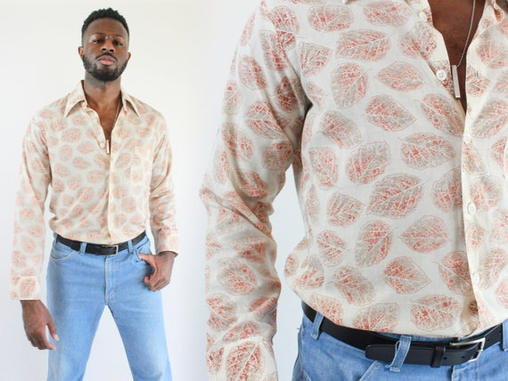 Vintage 70s Mens Groovy Long Sleeve Button Down /