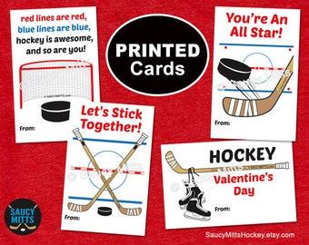 PRINTED Kids Hockey Valentine's Exchange Cards - Hockey Elements