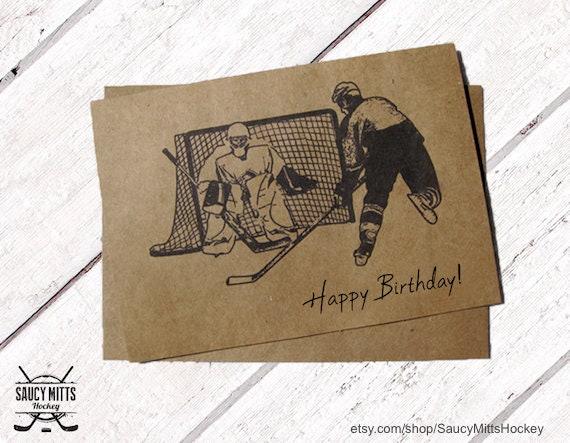 Hockey Birthday Card Ink Sketch Etsy