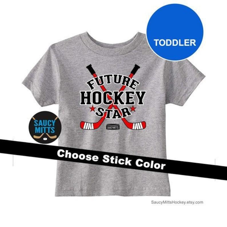 7cb2cb015 Toddler Hockey Shirt Future Hockey Star Sticks and Puck | Etsy