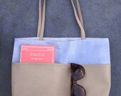 BLUE SKY SHOPPER. Hand painted canvas shopper with extra front pocket of faux suede