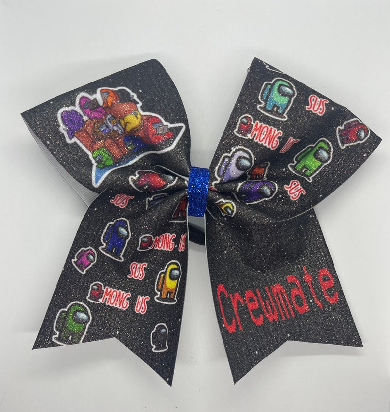 Among us full glitter print bow seems a little sus to me
