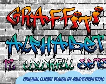 Colorful Graffiti Alphabet - Letters and numbers - 12 colored alphabets - 400+  files - png files - Instant Download