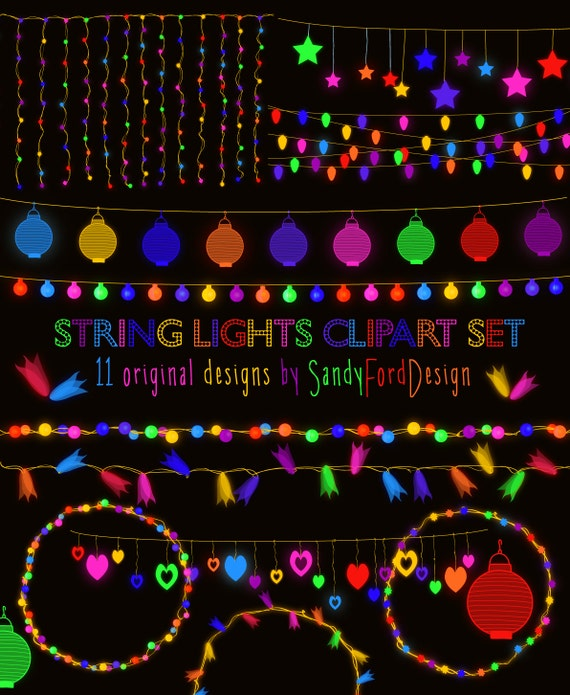 Colorful Glowing String Lights Clipart 29 Pieces Instant