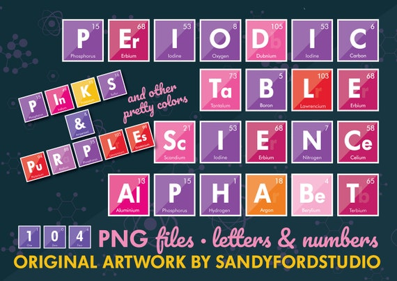 Girls Science Alphabet Periodic Table Letters 100 Etsy