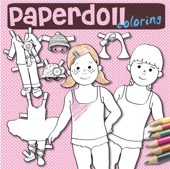 Para colorear de muñecos de papel para imprimir descarga | Etsy