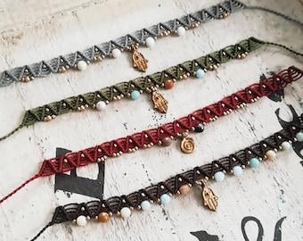 Macrame anklet bracelet/ Macrame anklet/ Handmade Jewelry/ Amazonite stone beads/ Boho style