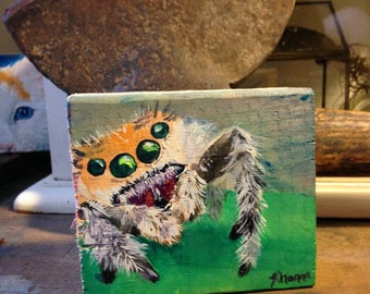 Adorable, little jumping spider on a leaf. Original, Acrylic painting on a wood block- SKU#RL-020