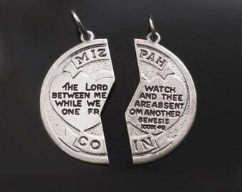 Vintage STERLING Silver MIZPAH Coin Charm Pendant TWO Piece Puzzle Half Religious Friendship Jewelry