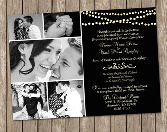 Night sky with string of lights ,Wedding Invitation, Digital file, Printable