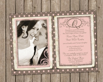 Classic Pink and Taupe Wedding Invitation with Polka Dots - printable 5x7