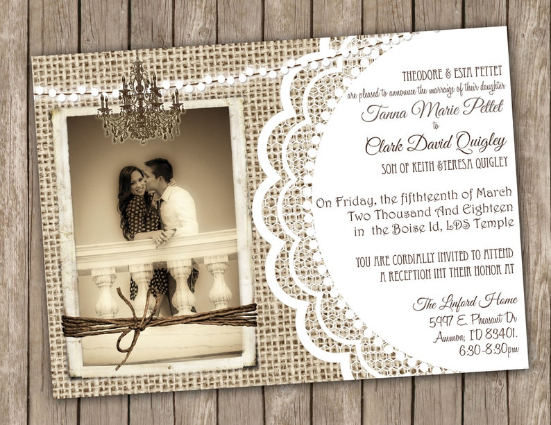 graphic relating to Printable Rustic Wedding Invitations named Burlap and Lace Rustic Marriage Invitation Printable Rustic Image Invite 5x7- T5