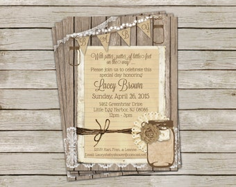 Rustic Gender Neutral Baby Shower Invitation with Burlap, Lace and Mason Jar - printable 5x7