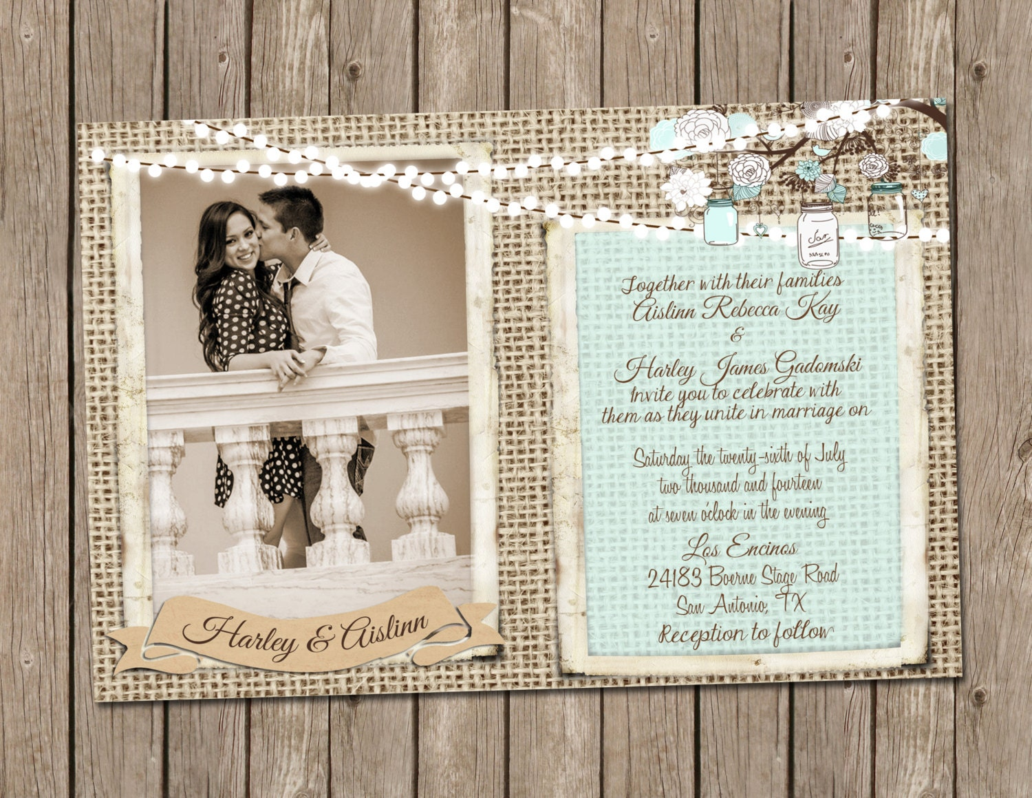 Wedding Invitations With Burlap: Rustic Wedding Invitation Over Burlap In Light Blue With