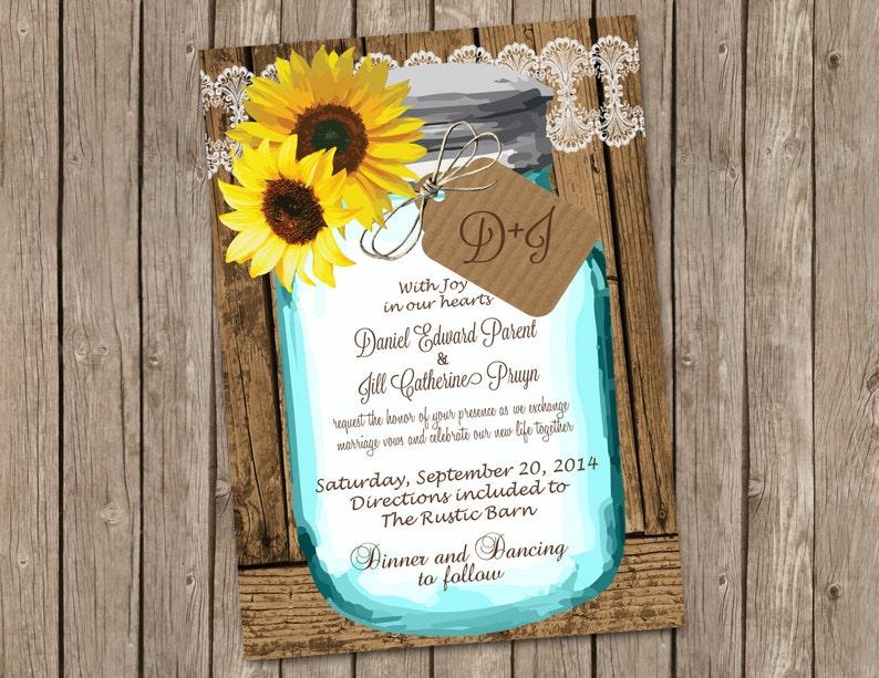 81581db8b4bd Sunflower Wedding Invitation with Shabby Wood and Mason Jar | Etsy