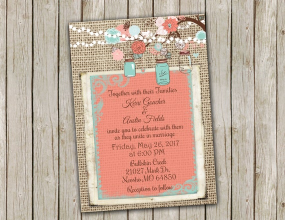 Turquoise And Coral Wedding Invitations: Coral And Turquoise Wedding Invitation With String Of
