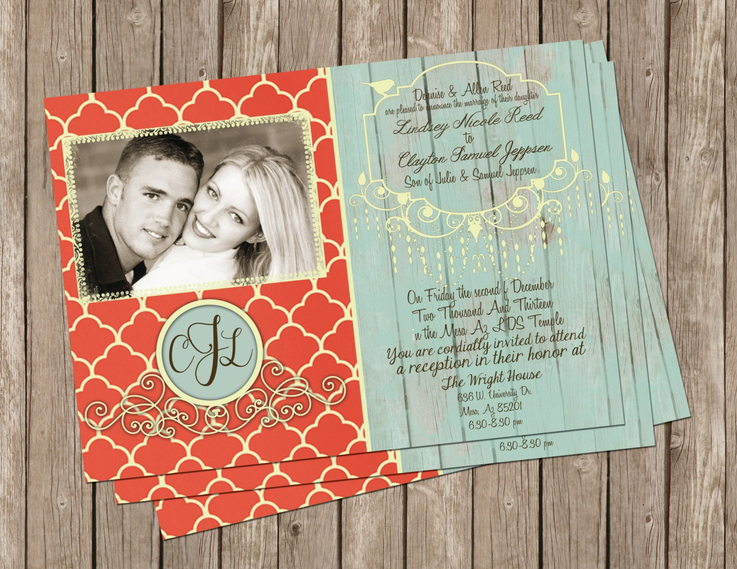 Cheap Shabby Chic Wedding Invitations: Shabby Chic Wedding Invitation In Coral And Mint With