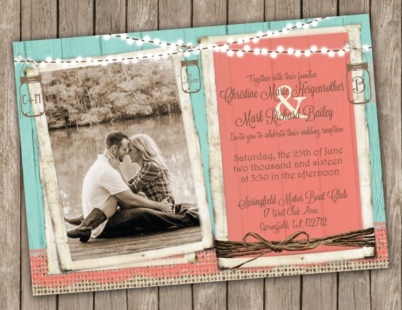 Coral And Teal Wedding Invitations: Coral And Turquoise Wedding Invitation Country Wedding