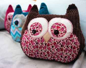 Snuggly Brown Corduroy Stuffed Owl Pillow