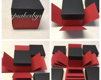 Explosion Box  - Exploding Box Solid colors - 5, 4, 3 layer box with lids - You pick your own colors