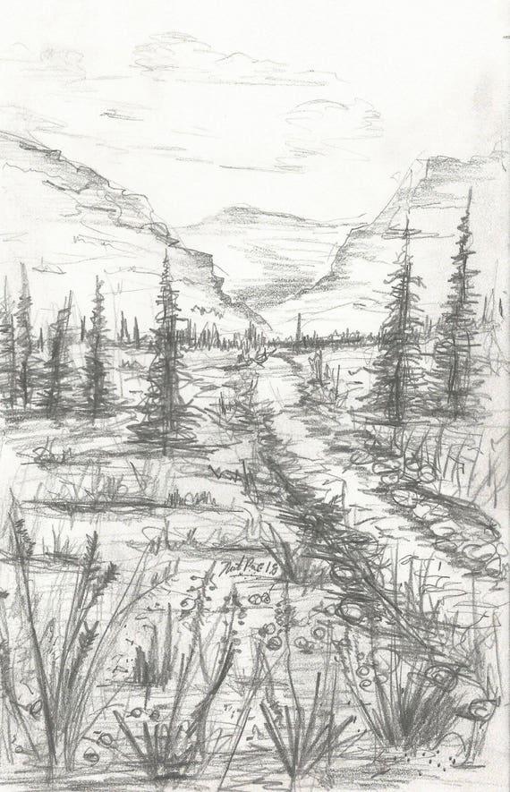 Fabelhaft Landschaft Bleistift Zeichnung INSTANT DOWNLOAD Kunstwerk | Etsy #MS_18