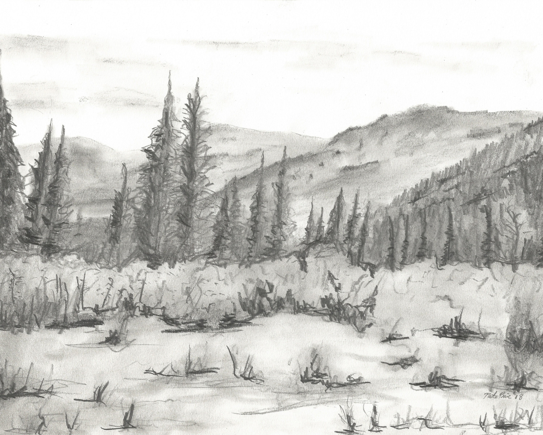 Landscape pencil drawing INSTANT DOWNLOAD ARTWORK mountain ...