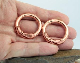 Threader Copper Earrings Hoop Chain Earrings Abalone Hoops Large Hoops Open Hoop Earrings Copper Hoop Earrings Coil Hoops Arc Hoops