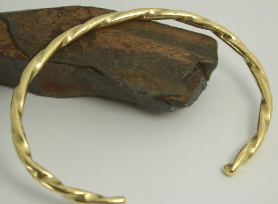 Brass Bracelet textured planished hand forged simple clean elegant Hand made brass Great gift for him or her dimpled Brass Cuff