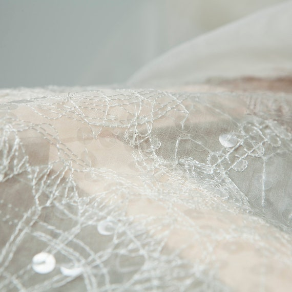 Transparent/Sheer white embroidery silk organza fabric with sequins, sculptural, sewing skirt, for wedding, shirt, dress, skirt, sewing craft by the yard 4029ed