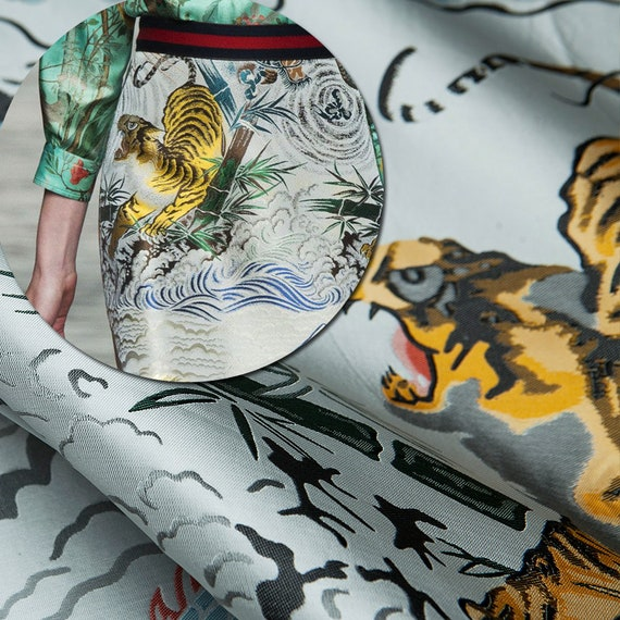 05c9e63f7164f Couture fashion brand jacquard tiger/dragon/trees pattern   Etsy