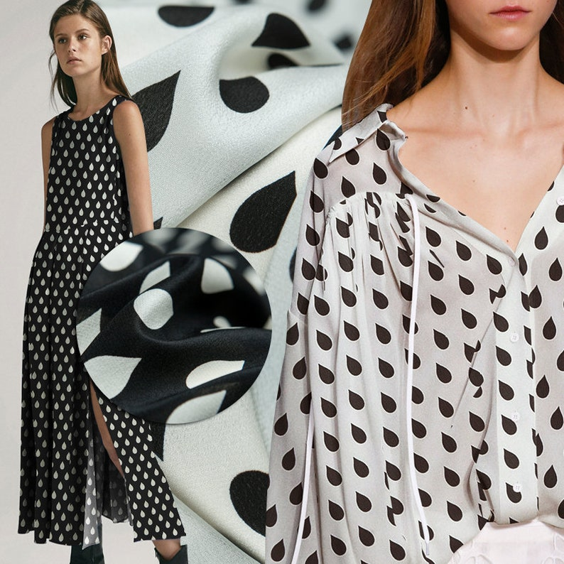 1608c4e0555f4 Simple style: Black and White raindrop print pure silk crepe de chine  fabric,dot pattern, sewing for dress, skirt, blouse, craft by the yard