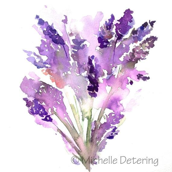 Lavender Dreams Watercolor Print Lavender Lavender Etsy