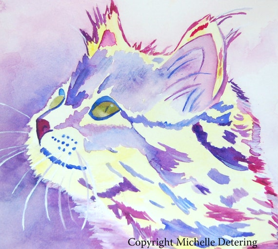 30x36 giclee purple cat watercolor print etsy